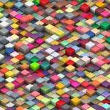 åtskilliga fasade ljusa kuber för färger 3d Arkivbild