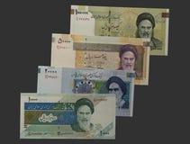 Åtskilliga iranska Rials räkning Arkivbilder