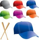 åtskilliga kulöra hattar för baseball royaltyfri illustrationer