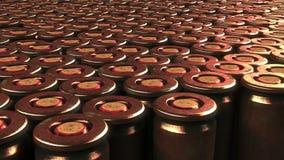 Åtskilliga kulkassettabc-bok Krig ammunition, agressionbegrepp framförande 3d Royaltyfria Bilder