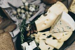 Åtskilliga ostsorter för framställning av smörgåsar Perfekt mellanmål för ost-vänner Förbereda mejeriprodukter för matställe elle Arkivfoton