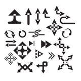 Åtskilliga pilformsymboler Arkivfoton