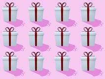 Åtskilliga rader av vita gåvaaskar med band på rosa bakgrund royaltyfri illustrationer