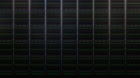 Åtskilliga serverkuggar Företags datornät, molnstogareteknologi eller moderna datorhallbegrepp framförande 3d Royaltyfri Foto