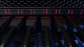 Åtskilliga servertrådar, röda ljus och kontaktdon, slut upp, CGI Arkivfoto