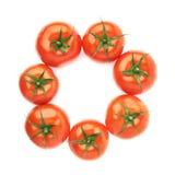 Åtskilliga tomater som arrangera i rak linje i en cirkel Arkivfoto