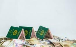 Åtskilligt Ecowas Nigeria internationellt pass på en hög av lokala nairavalutor royaltyfri bild