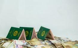 Åtskilligt Ecowas Nigeria internationellt pass på en hög av lokala nairavalutor arkivbild