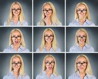 Åtskilligt kvinnauttryck royaltyfri fotografi