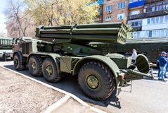 Åtskilligt raketgevärsystem BM-27 Uragan royaltyfri fotografi