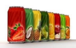 Åtta cans av fruktsaft stock illustrationer