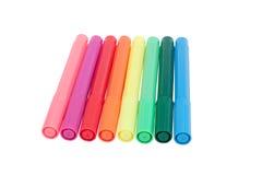 Åtta färgrika pennor Royaltyfria Foton