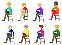 Åtta gentlemän som sitter utan framsidor Royaltyfri Fotografi