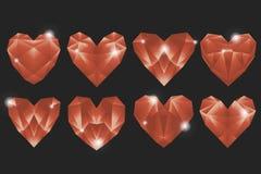 Åtta geometriska formade hjärtor på mörk grå förälskelse för bakgrundshjärtadiamanter är för evigt stock illustrationer