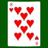 Åtta hjärtor Card dräktsymbolsvektorn som spelar kortsymbolvektorn vektor illustrationer
