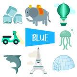 Åtta illustrationer i blå färg royaltyfri illustrationer