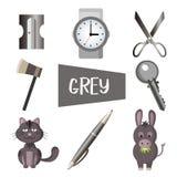Åtta illustrationer i grå färg royaltyfri illustrationer