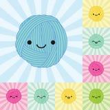 Åtta isolerade kawaiigarnbollar Litet och stort format vektor illustrationer