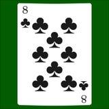 Åtta klubbor Kortdräktsymbol som spelar kortsymboler vektor illustrationer
