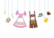 Åtta raka hängande Oktoberfest symboler stock illustrationer
