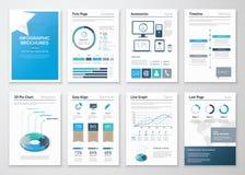 Åtta sidor av infographic broschyrer och reklamblad för affär royaltyfri illustrationer