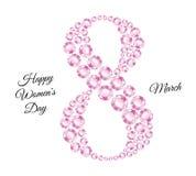 Åtta som komponeras av rosa diamanter och lyckönskan vektor illustrationer
