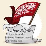Åtta timmar grundläggande arbets- rätter som firas minnet av i arbetares dag, vektorillustration Royaltyfria Foton