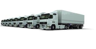 åtta vita radlastbilar Fotografering för Bildbyråer