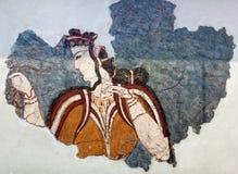 描述从一支礼仪队伍的迈锡尼壁画壁画片段一名妇女在梯林斯宫殿 图库摄影