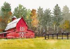 村庄房子水彩绘画在国家边