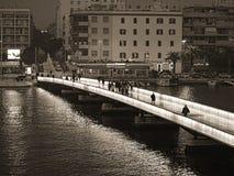 桥梁,夜,beatuiful,看法,zadar,海边,克罗地亚 库存照片