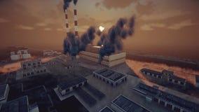 植物和抽象工厂的抽烟的烟囱厚实的烟雾、生态问题和空气污染概念的 向量例证
