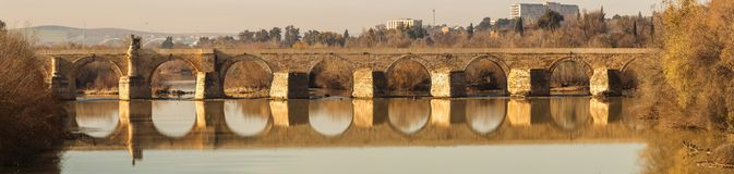 横跨瓜达尔基维尔河河的老石罗马桥梁在阳光下在科多巴,西班牙 免版税库存照片
