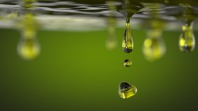 橄榄油小滴 工业食物流体概念 3d例证 免版税库存图片