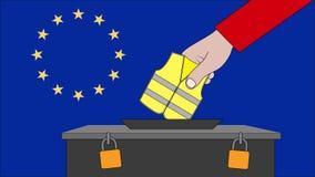 欧洲选举的投票箱与法国黄色背心抗议 向量例证
