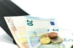欧洲钞票和硬币 货币在钱包里 经济在欧洲 库存照片