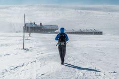 步行在往Lucni bouda的大山的女孩在与串结冰的风,Krkonose,捷克共和国的一个晴朗的冬日 免版税库存图片