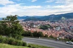 毕尔巴鄂,毕尔巴鄂,西班牙全景从Artxanda山的 免版税库存照片