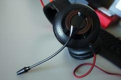 比赛和通信的,细节,特写镜头耳机耳机 免版税库存图片