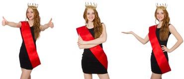 比赛的beaty女王/王后在黑礼服 库存照片