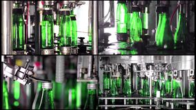 水生产拼贴画线  绿色玻璃瓶自动地移动沿着生产部门,并且填装与 影视素材