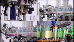 水生产拼贴画线  绿色玻璃瓶自动地移动沿着生产部门,并且填装与 股票视频