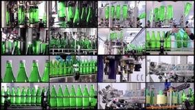 水生产拼贴画线  矿泉水的绿色瓶移动沿着自动生产线 水 影视素材