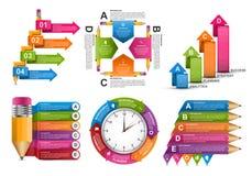 汇集Infographics模板 企业介绍或信息横幅的Infographics 向量例证
