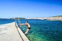 沃迪采海滩,克罗地亚 免版税库存照片