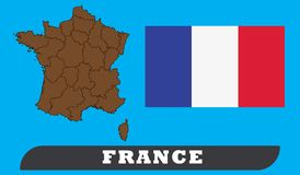 法国地图和旗子 库存例证