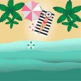 海滩的MobileThe顶视图有晒日光浴在席子和橡胶环的椰子和妇女 向量例证