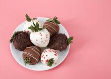 涂了巧克力的草莓品种在板材桃红色背景的 图库摄影