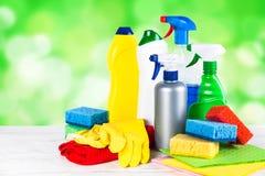 清洁产品,在白色背景的家庭 免版税库存照片