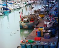 渔船在小游艇船坞 免版税图库摄影